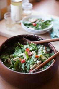 Spinach-and-Turkey Salad with Cucumber-and-Feta Dressing